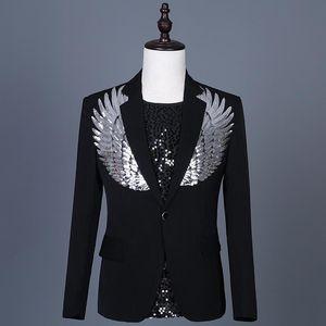Foreign Sequins Blazer Masculino Slim Fit Men Suit Jacket Stage Singer Costume Shiny Blazers