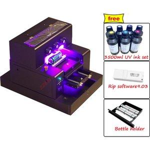 Бесплатный корабль Автоматический УФ-принтер A3 для стекла Телефон Чехол Деревянные металлические Бутылки Цифровая плоская печатная машина Принтеры