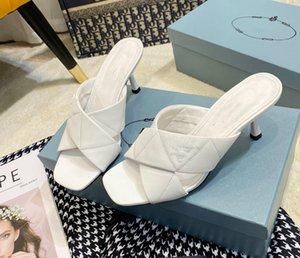 2021 Modèle d'été Sandales transversales sans doigts Stiletto Tempéramment All-match Tempéramment Simple Fashion Simple Fashion Pantoufles à un mot confortable