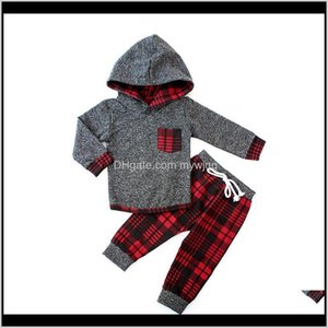 Sets Toddler Boy Winter Kids Clothes Set Red Plaid Hoodie Tops Pants Tracksuits Children Clothing Christmas For Boys Outfits Suit B97D 5Vlrh