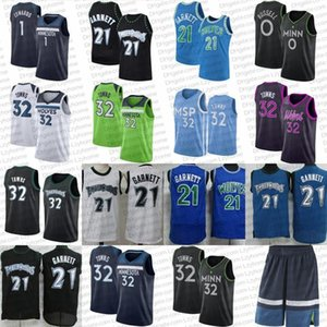 Karl-Anthony 32 Cidades Jerseys de Basquete Vintage Kevin 21 Garnett d'Angelo 0 Russell Camiseta Verde Anthony 1 Edwards MinnesotaMadeira