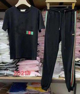 Erkek Eşofman İki Adet Setleri Kısa Kollu Ve Pantolon Çizgili Mektuplar Ile Moda Stil İlkbahar Yaz Dış Giyim Spor Seti Tshirt Suit