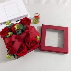Square Chocolate Packaging Box With Transparent Lid Creative Gift Carton Red Lipstick Flowers Jewelry Storage Boxes Wrap