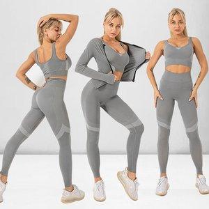 Seamless Women Sportswear Yoga Set Workout Clothes Athletic Wear Sports Gym Leggings Fitness Bra Top Long Sleeve Yoga Suit