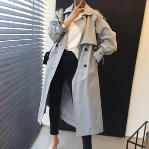 Women's Trench Coats 2021 Autumn Turn Down Collar Tops Solid Color Belt Vintage Fashion Long Outwear All-Match Coat
