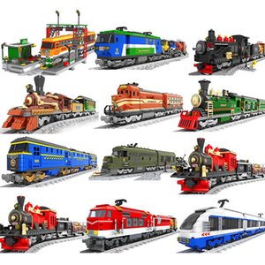 City train set steam bullet vehicle cargo railway station model building blocks brick tracks rail no motor kits carriage 210330