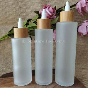 Lagerflaschen Gläser leere kosmetische Container Großhandel l3oz 4Oz 5oz Matte Glaslotion Spray Pumpe Flasche mit Luxus Bambusdeckel Holzkappe