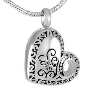 Elegant Flower Engraved In Heart Pendant Stainless Steel Cremation Necklace Ash Keepsake Memorial Locket Pet Human Urn Necklaces