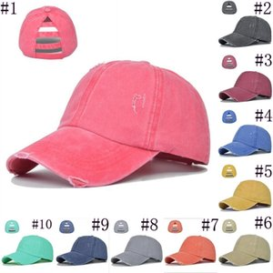 Party Hats Ponytail Baseball Caps Washed Buns Hats Leopard Criss Cross Pony Cap Outdoor sport Snapbacks Caps JJA68