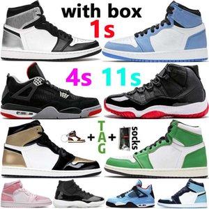 Com Box Jumpman 1S 1 Tênis de basquete 4 4s Travis Scotts 6 6s Concord 45 Bred 11 11s Homens Mulheres Sneakers Tamanho 13
