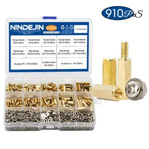 910pcs set NINDEJIN Nail M3 Male Female Hex Brass Standoff Spacer with Pan Head Screw Nut and Washer Assortment Kit pcb for motherboard