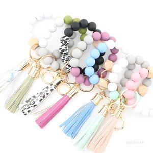 Fashion Silicone Bead Bracelets Beech Tassel Key Chain Pendant Leather Bracelet Women's Jewelry 14 Style T500606