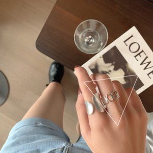 Minimalist 925 Silver Plated Width Rings Women Fashion Vintage Creative Hollow Geometric Handmade Finger Ring Party Jewelry Gift 145 M2
