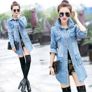 Women's Trench Coats Woman Ripped Denim Coat Casual Long Jacket Trendy Tassel Jeans Windbreaker Spring   Summer Clothing S-3XL