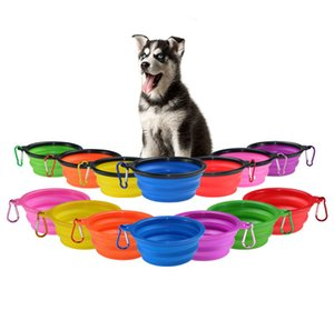 Travel Collapsible Dog Cat Feeding Bowl Pet Water Dish Feeder Silicone Foldable Bowles With Hook 18 Styles