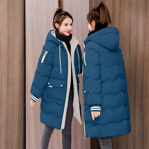 Men's and women's clothingPadded Middle Cotton Off Jacket Women's Season Down Long Thickened and Warm Keeping New Korean Loose Style Stude EIEO