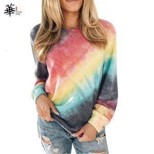 Rainbow Long Sleeve Women Tshirt Plus Size Print Autumn Spring Tee Shirt Femme Streetwear Clothes Women Tops and Shirts