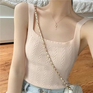 Korean Buy New Version Chic Black Knitting Small Sling Vest Summer Wear Net Red Short Base Coat Fashion ZPHF