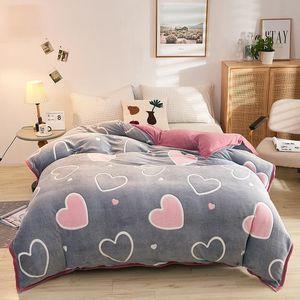 Sheets & Sets Love Heart Velvet Multifunctional Hemming Single Duvet Cover Snowfleece 1pcs Autumn Winter Warm Home Textiles Sheet