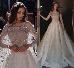 Sparkly Seuqined Bateau A-line Long Sleeves Wedding Dress Luxury Vintage Saudi Arabic Dubai Plus Szie Princess Bridal Gown