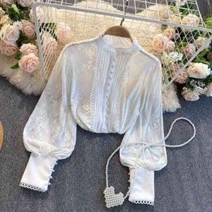 Топы Корейский Роскошный Женский 2021 Весенний Фонарь Офис Леди Бизнес Носить Черные Белые Рубашки Женская Блузка Топ Кнопки