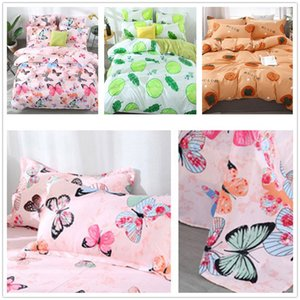 4PCS Fashion Butterfly Fruit Printed Cotton Quilt Duvet Cover Comforter Bed Sheets Pillowcase Bedding Sets Kids Comforters Bedroom Decor