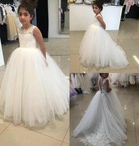 Beautiful Girls Dress For Wedding White Beaded Flower Dresses Jewel Neckline Floor Length Lovely Princess Pageant Gown Party Gowns