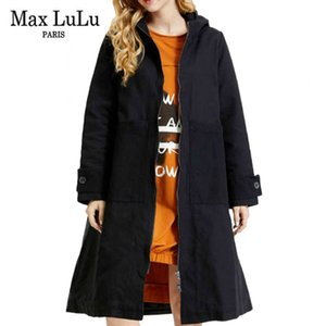 Max Lulu 2020 Autumn Korean Style Streetwear Ladies Printed Oversized Long Trench Coats Womens Casual Hooded Loose Windbreakers