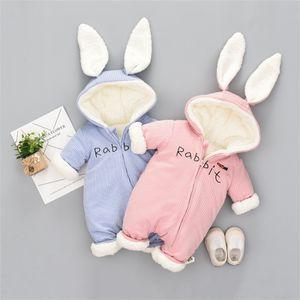 Sevimli Bunny Polar Kadife Bebek Giyim Kış Bebek Kız Erkek Tulum Sıcak Yeni Doğan Bebek Yenidoğan Giyim Kar Tulum 273 Z2