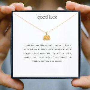 펜던트 목걸이 Icareu 행운을 빌어 요 코끼리 목걸이 쇄골 짧은 황금 도금 체인 아프리카 보석 동물 소망 카드 상자 선물