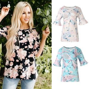 Maternity Tops & Tees TELOTUNY Baby Is Coming Print Women Clothing Pregnant Flower Short T Shirt Top For Pography Po Shoot