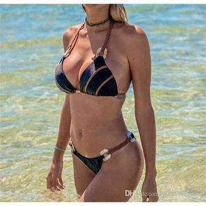 Bikini Sexy Summer Swimwear Womens weave halter neck Woman girl sell Solid split bikini Bathing Brief bra G-string Swimwear Top Swimsuit Hot