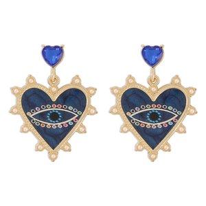Evil Eye Dangle Earrings for Women Girls Heart Chandelier Earring Fashion Jewelry