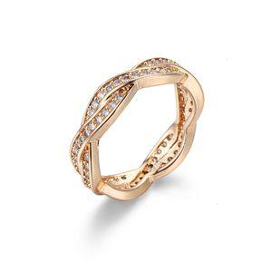 Anneaux Bague Pan Famille Même Bijoux de Zircon Femme Ornement à la main en or rose pour femmes