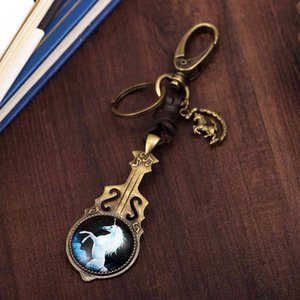 Fashion alloy guitar accessories note totem Unicorn glass ring key ringGD6R