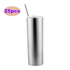 20oz Sublimation Blank Silver Skinny Tumbler Stainless Steel Insulated Water Bottle Double Wall Vacuum Travel Cup Bottles