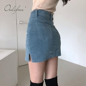 Skirts Ordifree 2021 Summer Women Mini SKirt High Waist Pencil Sexy Bodycon Blue Black Corduroy Shorts