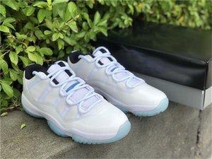 Аутентичные 11 низкая легенда голубая открытая обувь мужские белые черные 11s высокий реальный углеродный волокнистый университет-синий кроссовки с оригинальной коробкой 40-47