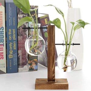 Terrario de la bombilla de la plantadora de vidrio de los jarbos de vidrio de la plantilla de vidrio con el marco de madera retro soporte para la oficina del jardín de la casera decoración de la boda de la decoración de la boda de las plantas de la mesa