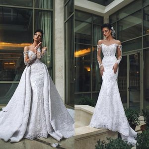 Dubai Arabic Luxury Off Shoulder Mermaid Wedding Dresses With Detachable Train Long Sleeves Lace Applique Beaded Wedding Dress Bridal Gowns