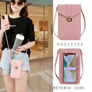 Ladies Touch Screen Cell Phone Purse Smartphone bags PU Leather Shoulder Strap Handbag Women Bag Fashion mobile wallet 2021