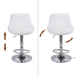 Modern Bar Stools High Tools Type, 2pcs Adjustable Chair Disk Rhombus Backrest Design Dining Counter Pub Chairs sea ship FWE9547
