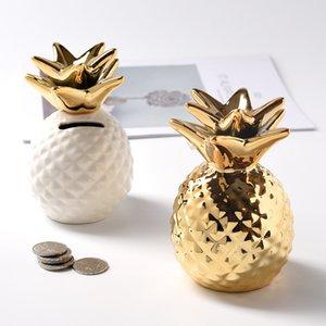 Европейский керамический ананасовый копил банка дома декор милые монеты хранения столовые украшения креативные фрукты форма деньги коробка детей подарки