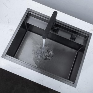 Black Hidden Kitchen Sinks With Folded Faucet Kitchen Sink Stainless Steel Double Bowl Above Bar Counter Undermount Laundry Sink