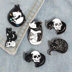 Korean Fashion Brooch mysterious witch cat skull star moon Brooch Pin Badge