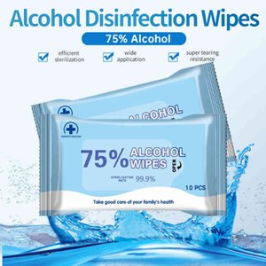 180mm*140mm Alcohol Wipe 10pcs Portable Wet Wipes 75% Ethanol Antibacterial Disinfecting Dipe For Home Office IN STOCK