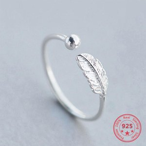 Cluster Rings Feather Personality Adjustable Ring Charm 925 Sterling Silver Cute Fine Jewelry Elegant Birthday Party Gifts For Women