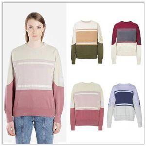 Marant Sweatshirt Color Matching Vintage O-Neck Long Sleeve Street Pullover Sweatshirts Fashion Spring Autumn Sweater Shirt HFHLWY032