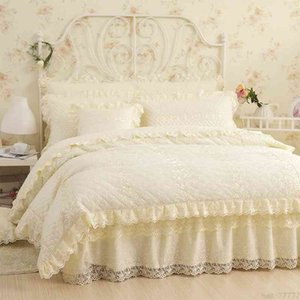 Cotton Lace Princess style Luxury Bedding Soft Warm Winter Bedclothes 4 6Pcs Full Queen King size Bed skirt Duvet Cover set