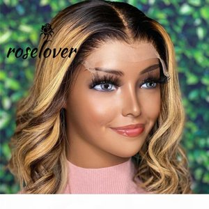 Highlight Short Wavy Bob Wig Ombre Brown Honey Blonde Lace Front Closure Wig Colored Full Frontal Human Hair Wigs 4x4 Closure